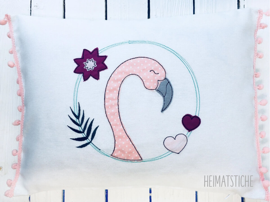 Flamingo Doodle Kreis Applikation - Stickdatei