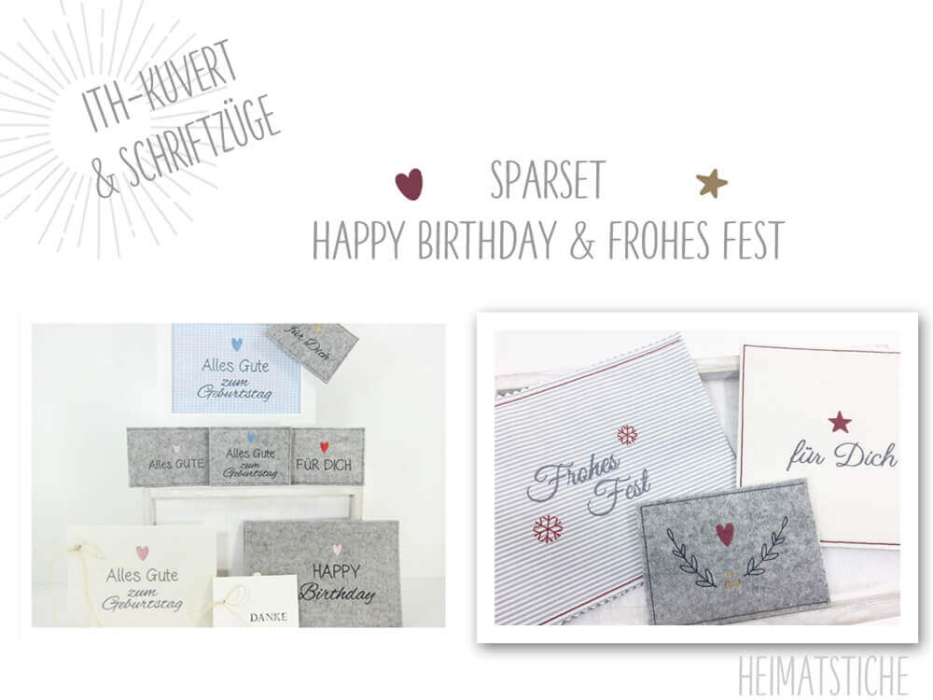 "SPAR SET - ITH Hülle - ""Happy Birthday + Frohes Fest"" Stickdatei"