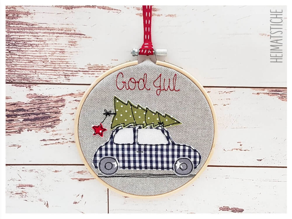 "Auto ""God Jul"" - Stickdatei"