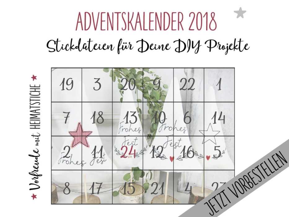 Adventskalender 2018 - Stickdateien 10x10